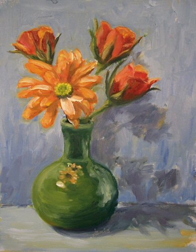 Hudson Valley Painter Blog Archive Green And Orangevase Of Flowers