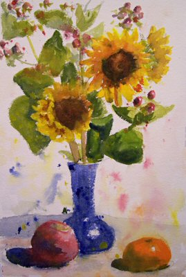 081029-sunflowers-with-spatters-and-drips-7x11-400