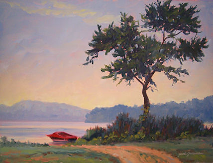 090805-Little-Red-Boat-at-Daybreak-12x16-425