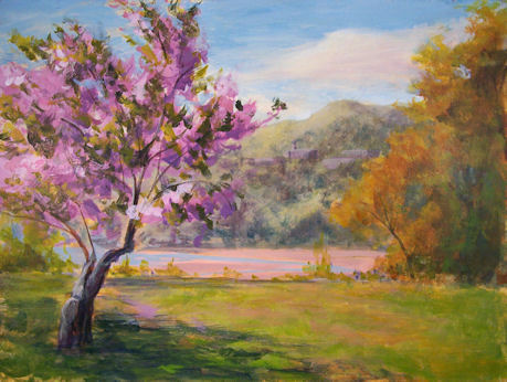 100430-Cherry-Blossoms-and-West-Point-GO-9x12-450