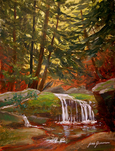 100725-Waterfall-in-the-Woods-9x12-500v
