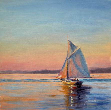 110118-Sailing-at-Sunset-6x6-450