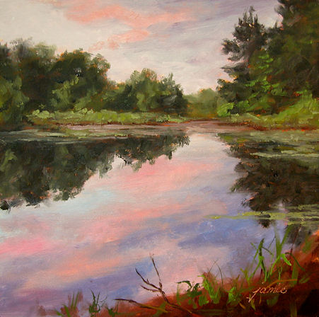 110120-Beaver-Pond-at-Sunset-6x6-450