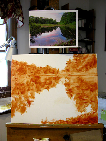 110125-Sunset-at-the-Beaver-Pond-16x20-wip1-600