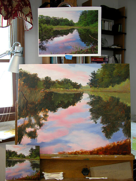 110125-Sunset-at-the-Beaver-Pond-16x20-wip2-600
