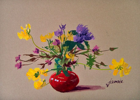 110609-Little-Red-Pot-of-Wildflowers-5x7-gouache-450