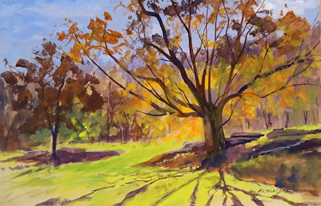 111025-Backlit-Maple-in-Fall-gouache-7x11-450