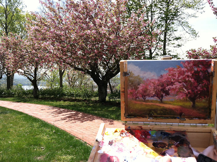 tree with flowers painting hudson valley painter flowers gardens and flowering trees