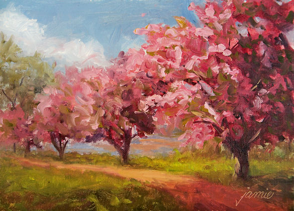 Hudson Valley Painter » Flowers, Gardens and Flowering Trees Japanese Cherry Blossom Landscape Painting