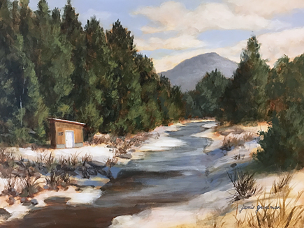 170327 Winter Along the Creek 12x16 ac 435