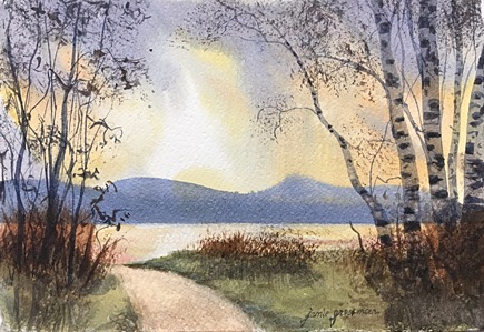 170601 Atmosphere and Birches at the Lake 7x11 wc 435