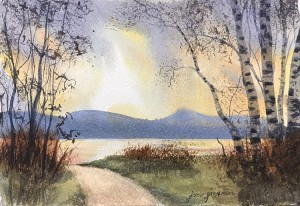 170601 Atmosphere and Birches at the Lake 7x11 wc 750
