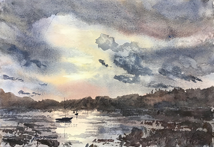 170601 Moored in a Storm 7x11 wc 435